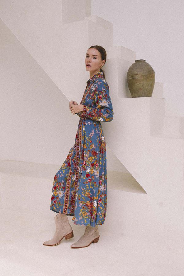 Tribal Print Midi Shirt-Dress