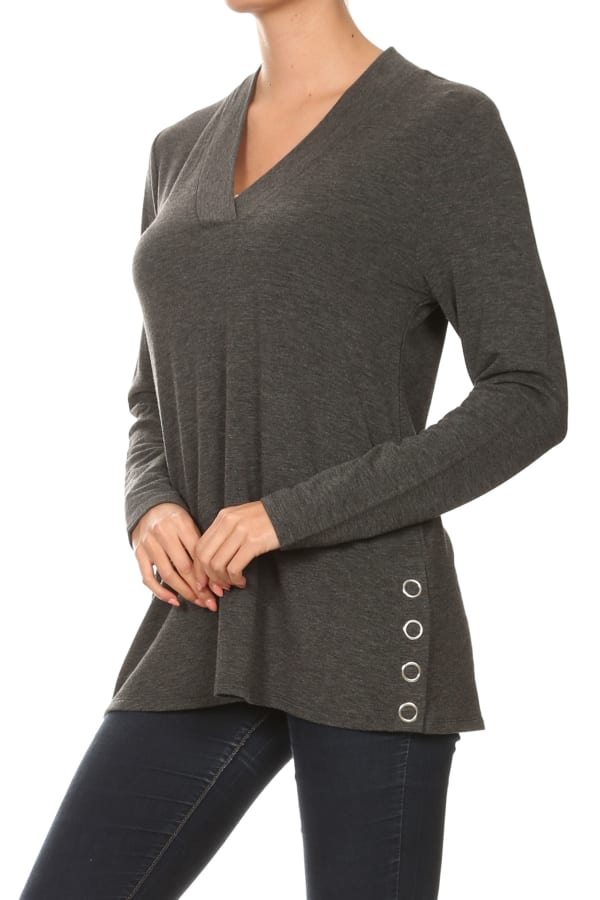 French Terry Button Tunic Knit Top