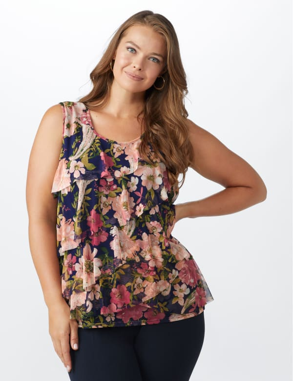 Mesh Tiered Floral Knit Top - Plus - Navy - Front
