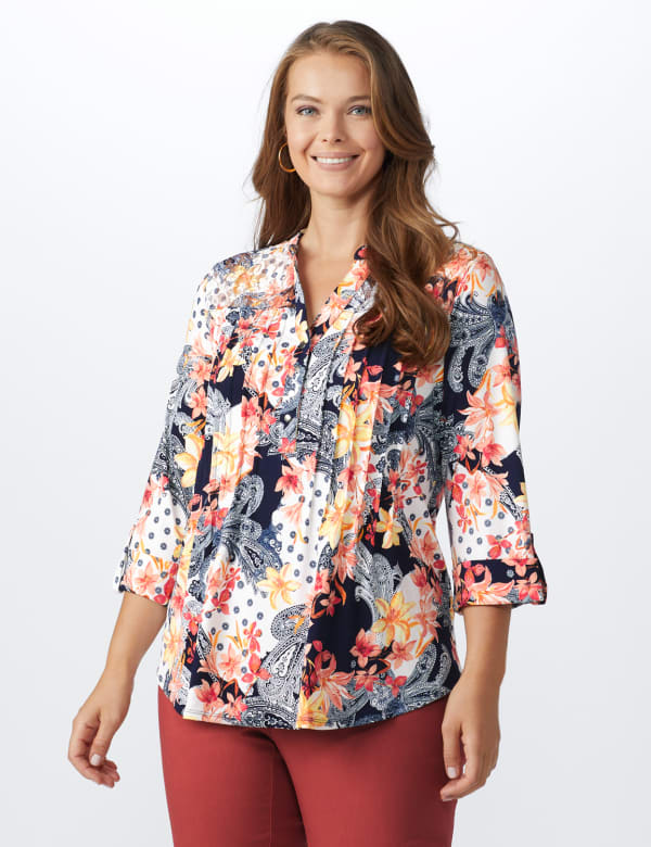 Lace Trim Patchwork Pintuck Popover - Navy/Coral - Front