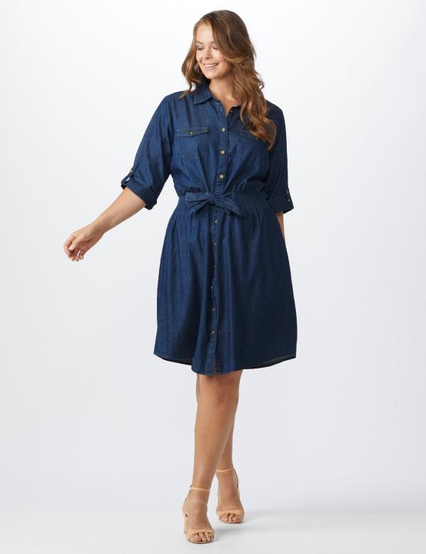 Roll Tab Denim Shirt Dress - Plus
