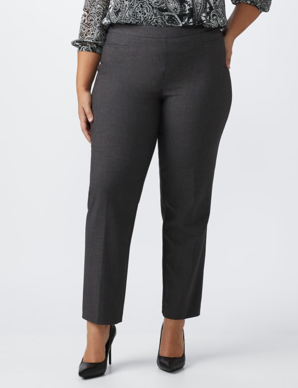 Roz & Ali Pull On Secret Agent Pant with L Pockets- Average Length   -Plus - Grey - Front