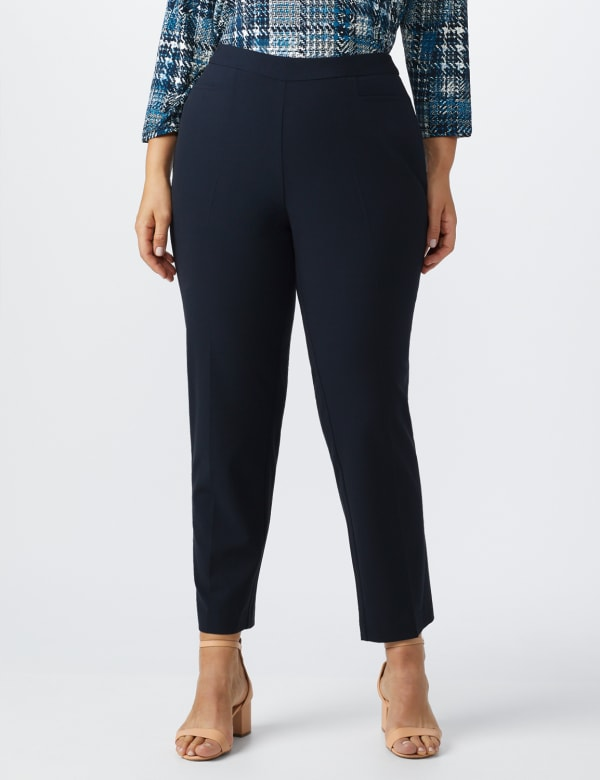Roz & Ali Pull On Secret Agent Pant with L Pockets- Average Length   -Plus - navy - Front