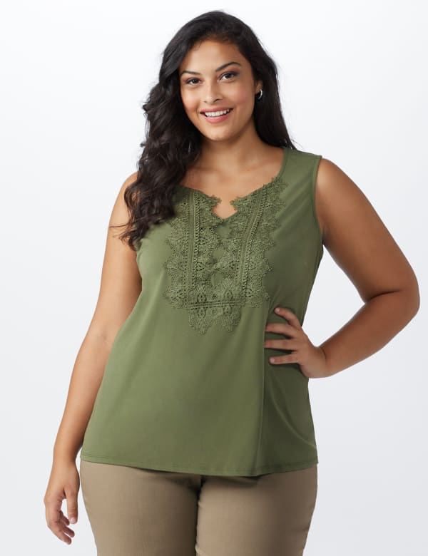 Roz & Ali Crochet Trim Crepe Hi/Lo Knit Top - Plus - Olive - Front