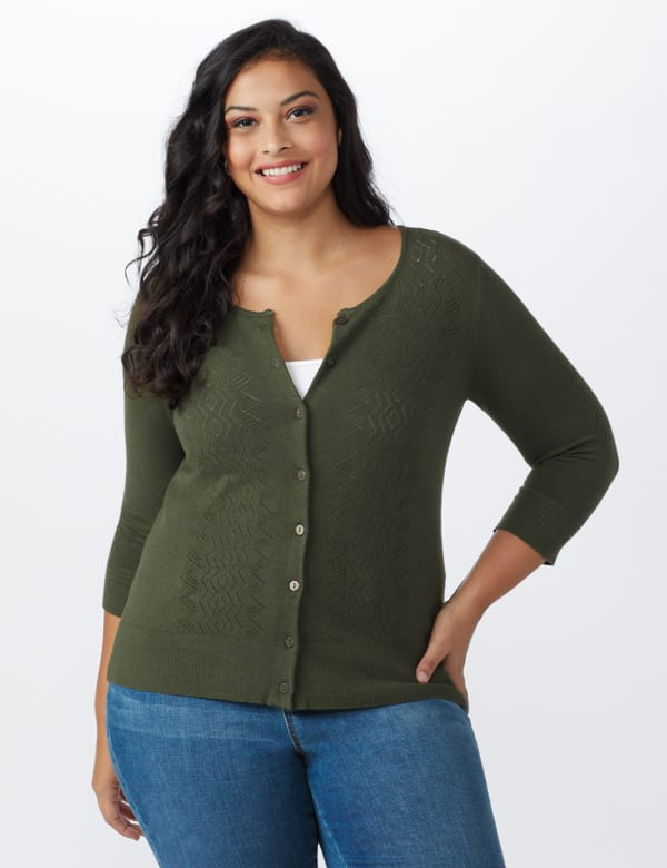 Roz & Ali Pointelle Button-Up Cardigan - Plus - Olive - Front