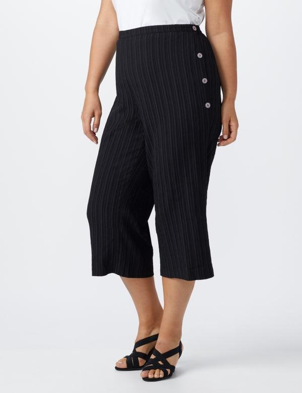 Plus Pleated Crop Pant  with button trim detail - Black - Front