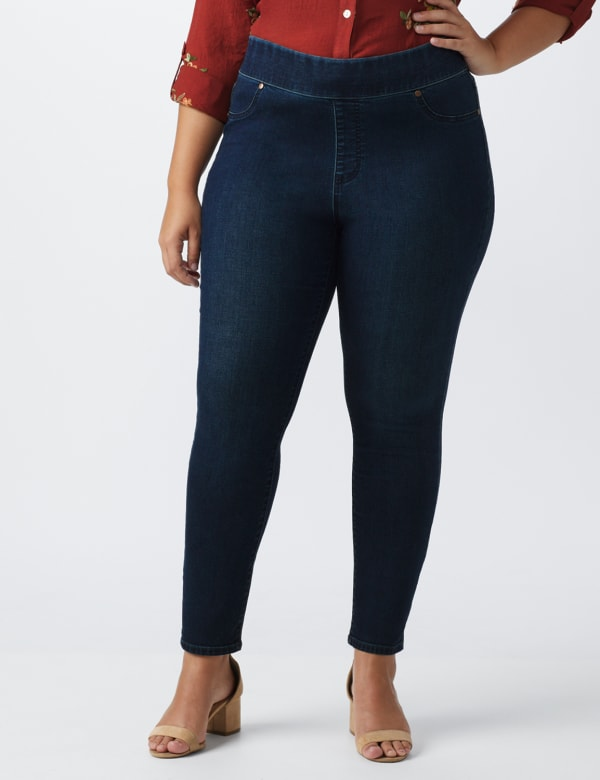 Plus- Westport Signature High Rise Pull On Jegging Jean - Rinse - Front