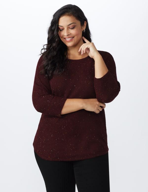 Westport Thermal Stitch Curved Hem Sweater - Plus - Florentine - Front