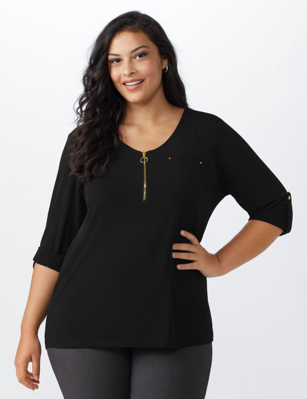 Roz & Ali Zip Front Knit Top - Plus - Black - Front