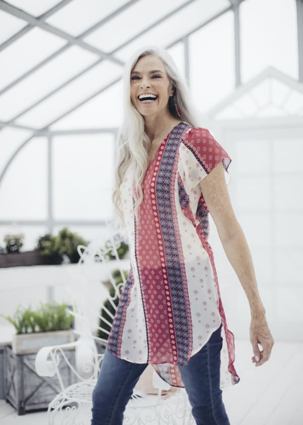 Mix Media Flutter Sleeve Woven Peasant Tunic - Red/Navy - Front
