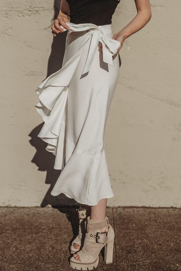 Sylvia Ruffle Wrap Skirt - White - Front