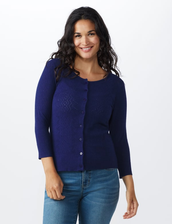 Roz & Ali Pointelle Button-Up Cardigan - Navy - Front
