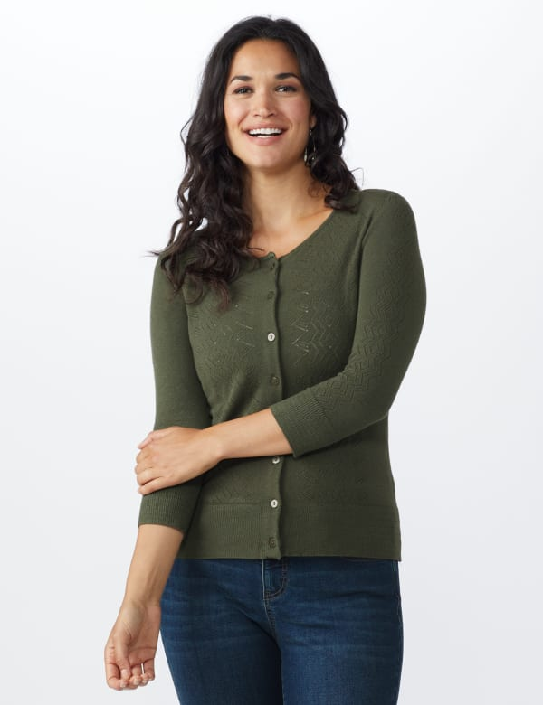Roz & Ali Pointelle Button-Up Cardigan - Olive - Front