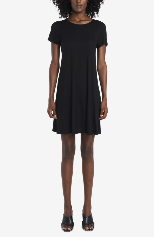 Classic Tee Shirt Dress - Black - Front