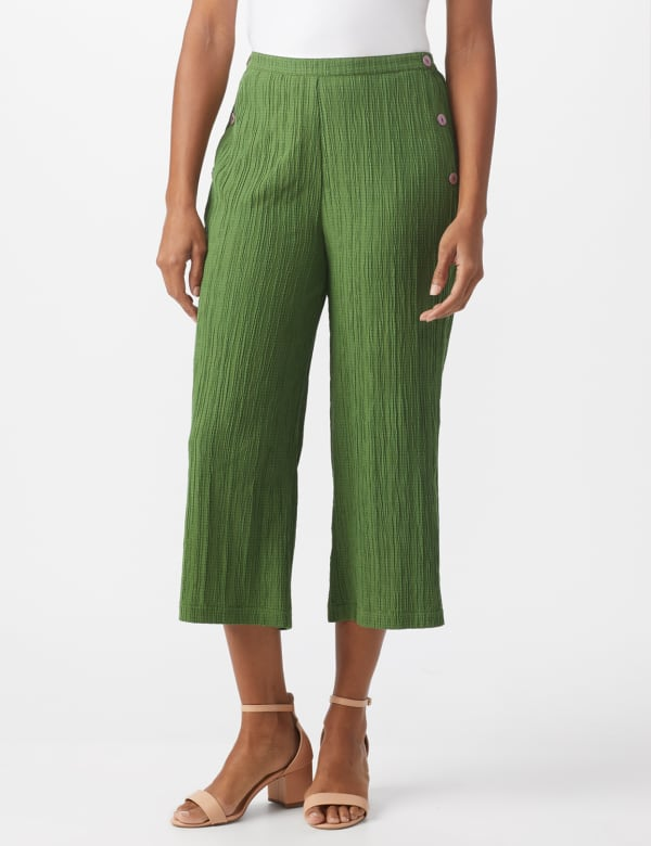Pleated Crop Pant With Side Buttons - Olive - Front