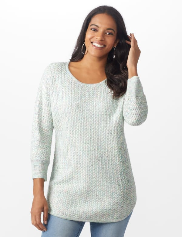Westport Zig Zag Stitch Curved Hem Sweater - Misses