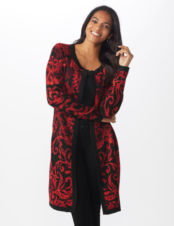 Roz & Ali Jacquard Duster Sweater - Misses -Multi - Front