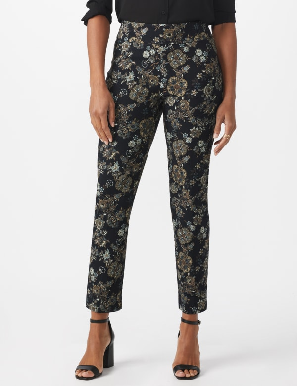 Roz & Ali Printed Superstretch Pull On Ankle Pants With Slits -Black/Grey - Front