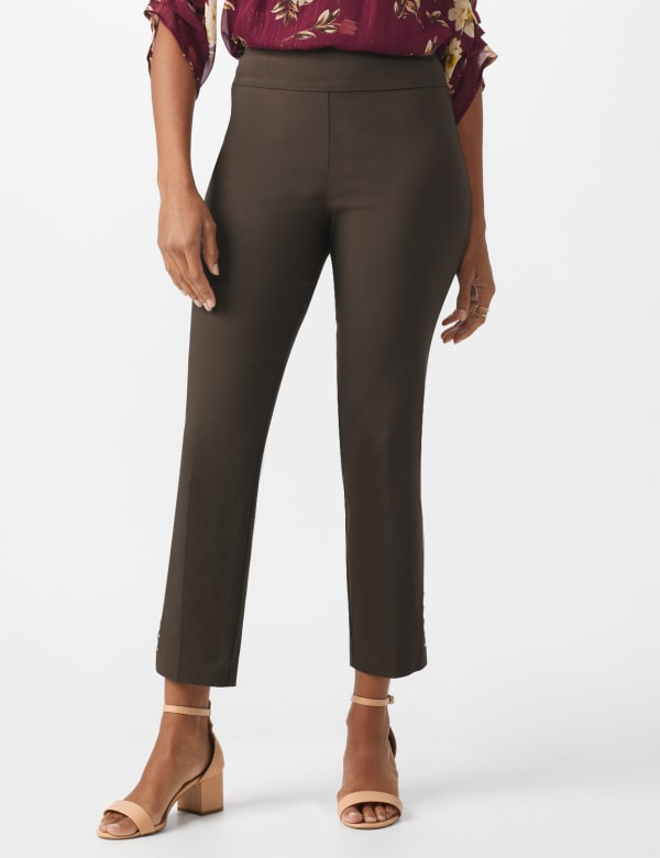 Roz & Ali Solid Superstretch Tummy Panel Pull On Ankle Pants With Rivet Trim Bottom - Cocoa - Front