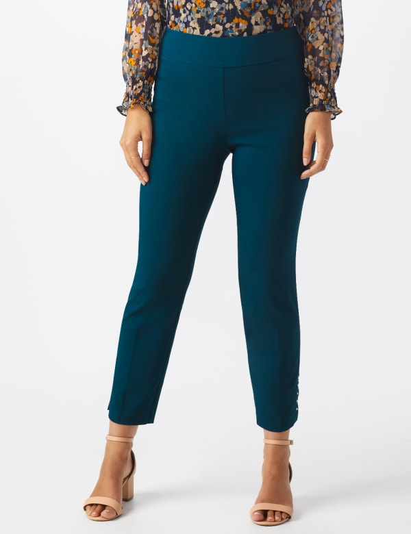 Roz & Ali Solid Superstretch Tummy Panel Pull On Ankle Pants With Rivet Trim Bottom - Teal - Front