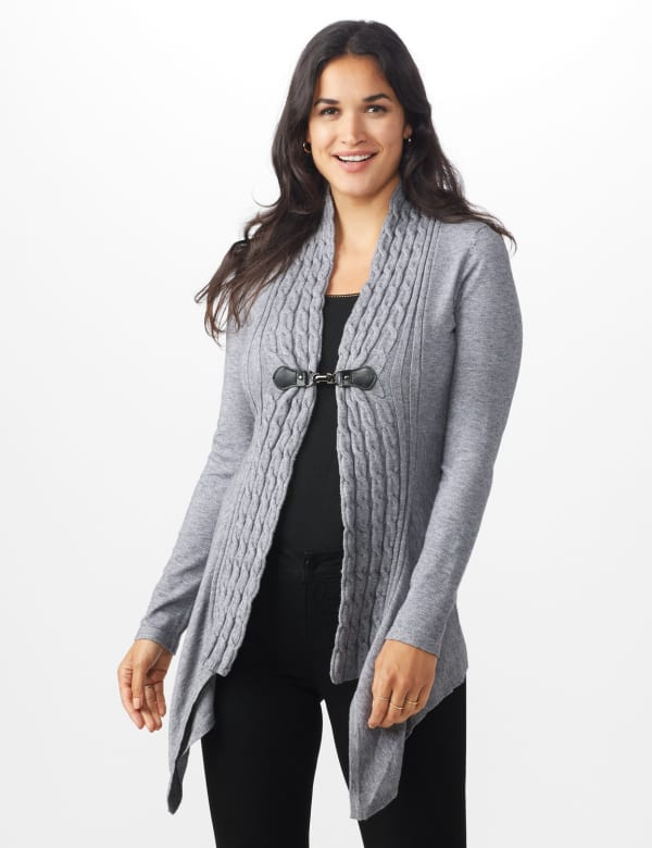 Roz & Ali Cable Front Buckle Cardigan -Heather Grey - Front