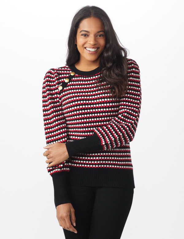 Roz & Ali Novelty Sleeve Stripe Pullover Sweater - Black/Red/White - Front