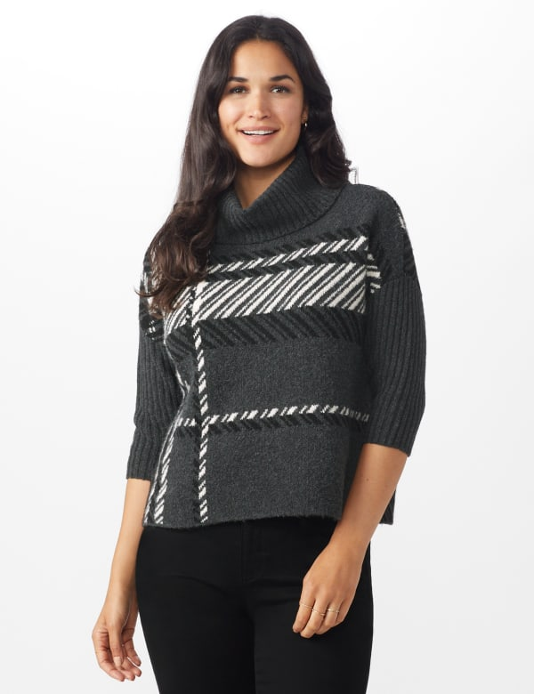 Roz & Ali Plaid Jacquard Pullover Sweater - Heather Charcoal - Front