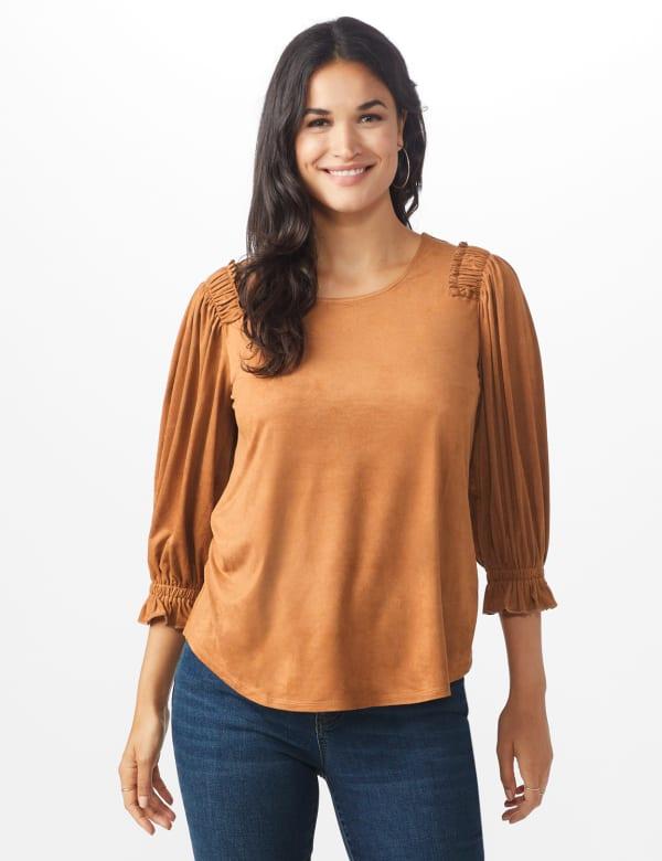 Ruched Shoulder Suede Knit Top - Camel - Front