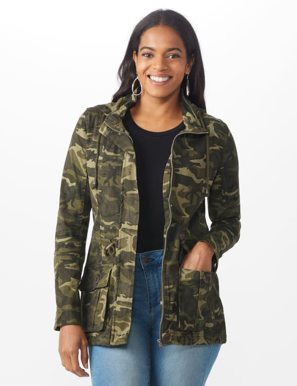 Hooded Hi - Low Zip Front Utility Jacket - Olive camo - Front