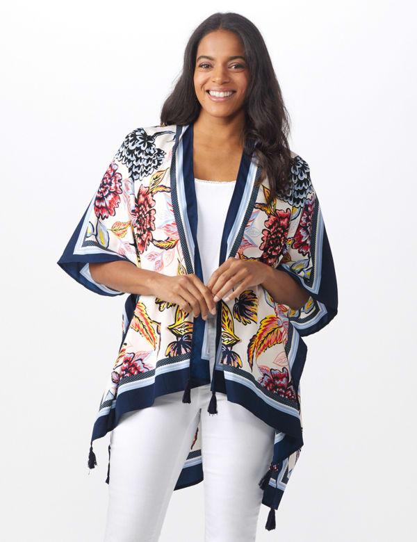 Floral Border Printed Kimono - Blue Multi - Front