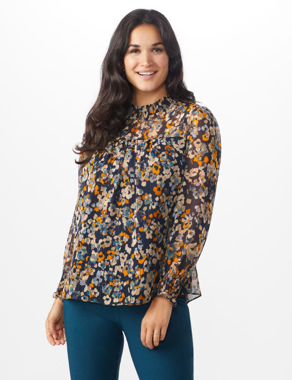 Navy Floral Blouse With Smocking And Lurex