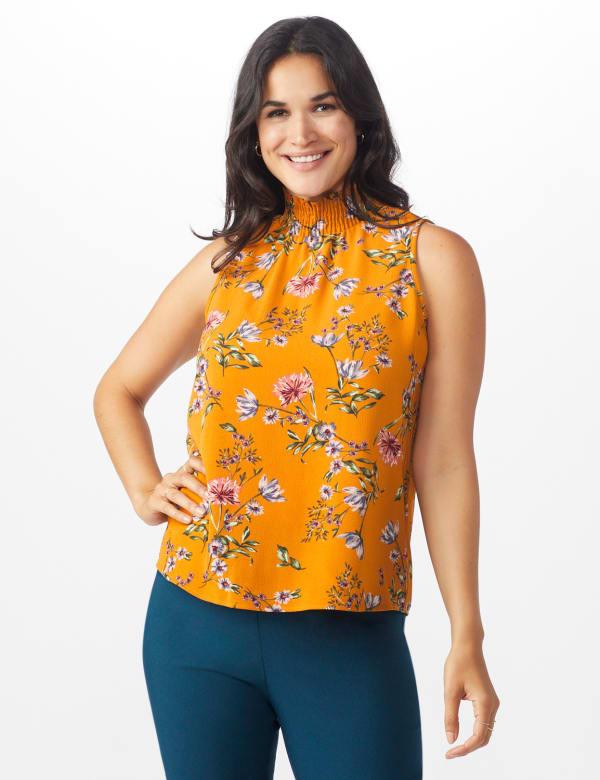 Floral Crepe Mock Neck Blouse - Misses - Amber - Front