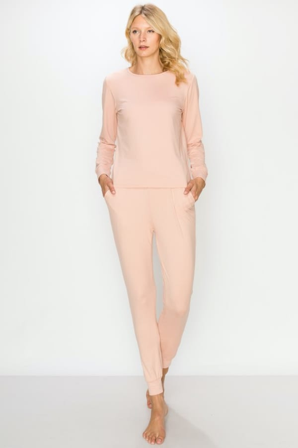 Brushed Peach Skin Lounge Set - Dusty Pink - Front