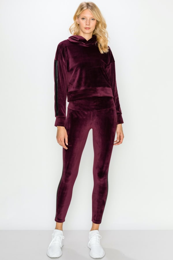 Crop Velour Pullover Legging Set -Wine - Front
