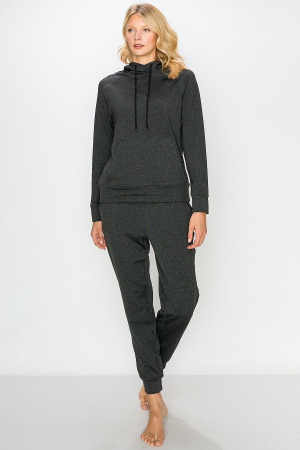 Fleece-Lined Hoodie and Jogger Set - Charcoal - Front