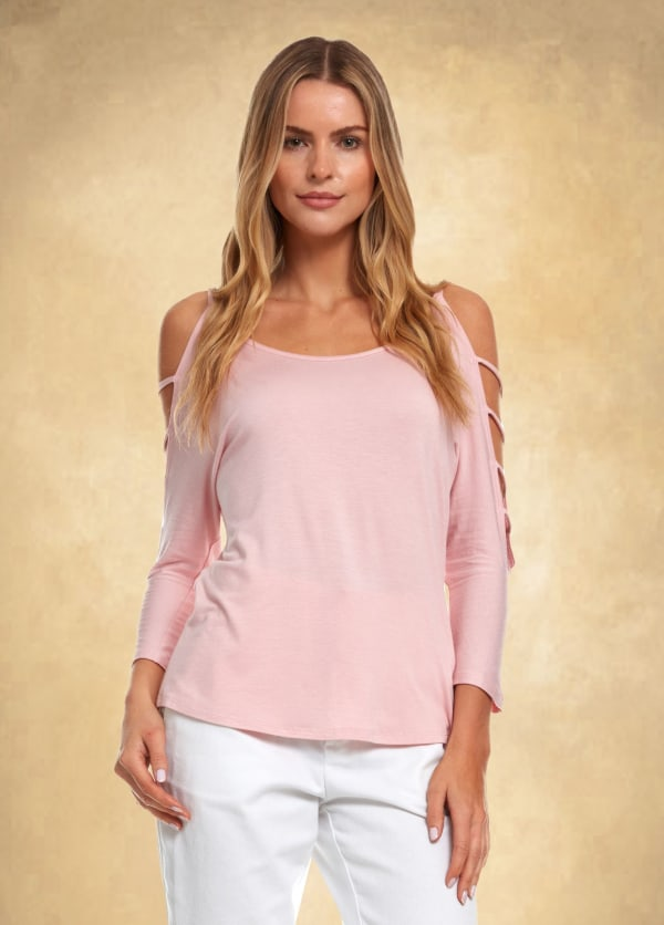 3/4 Sleeve Strappy Shoulder Knit Top -Rose - Front