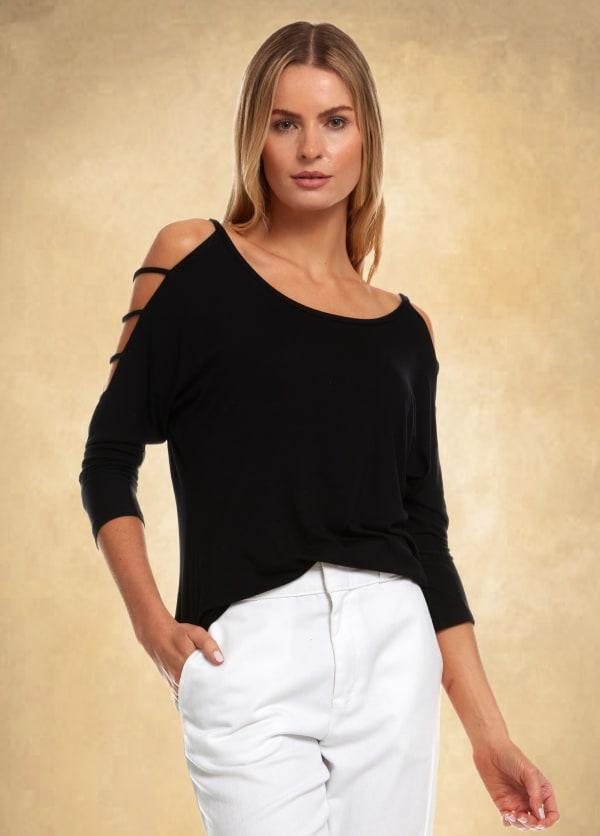 3/4 Sleeve Strappy Shoulder Knit Top - Black - Front