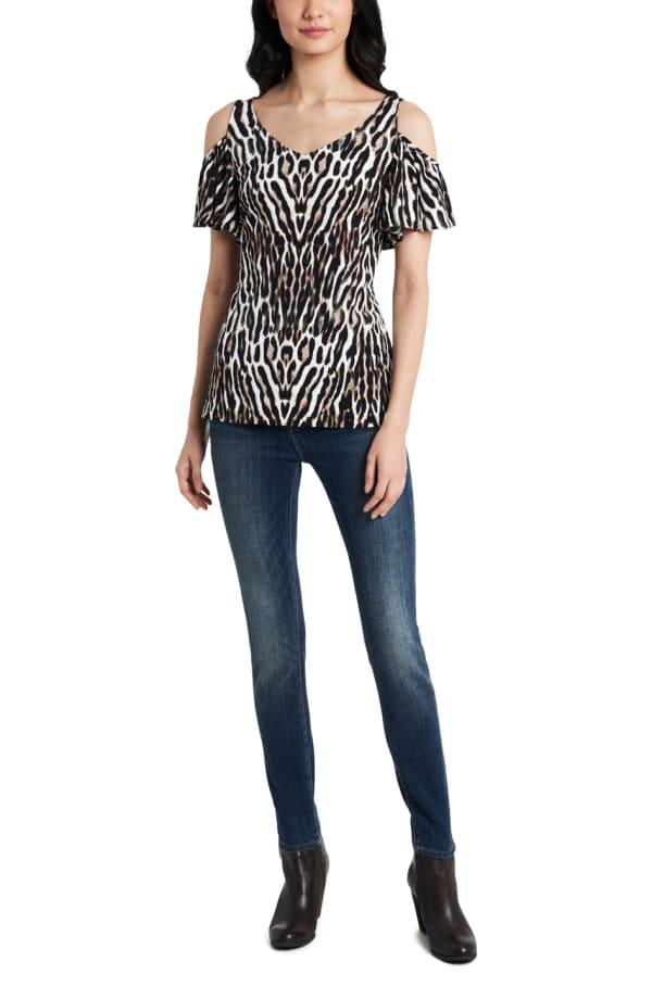 Cold Shoulder Animal Knit Top - Black/White - Front