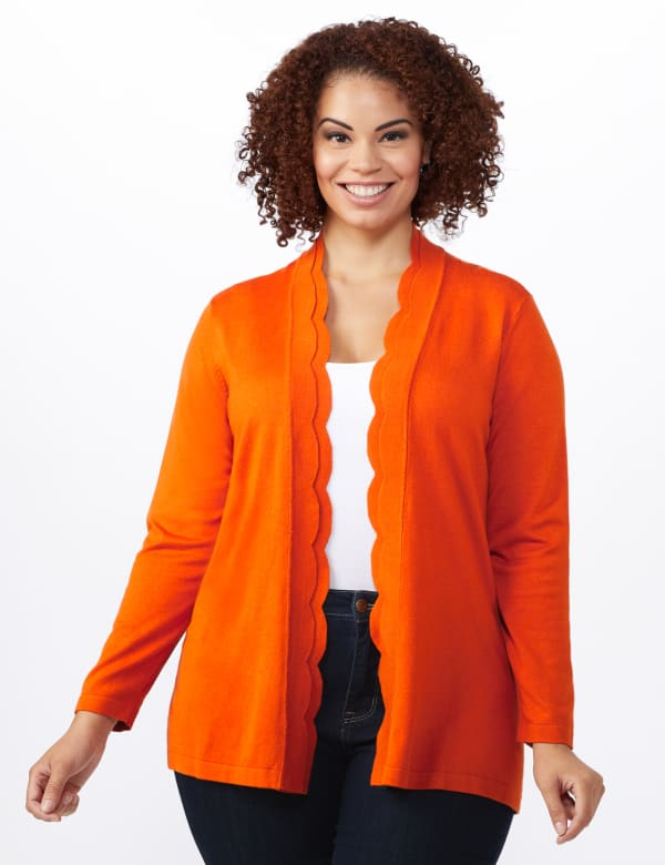 Roz & Ali Long Sleeve Scallop Trim Cardigan - Plus - Goldspice - Front