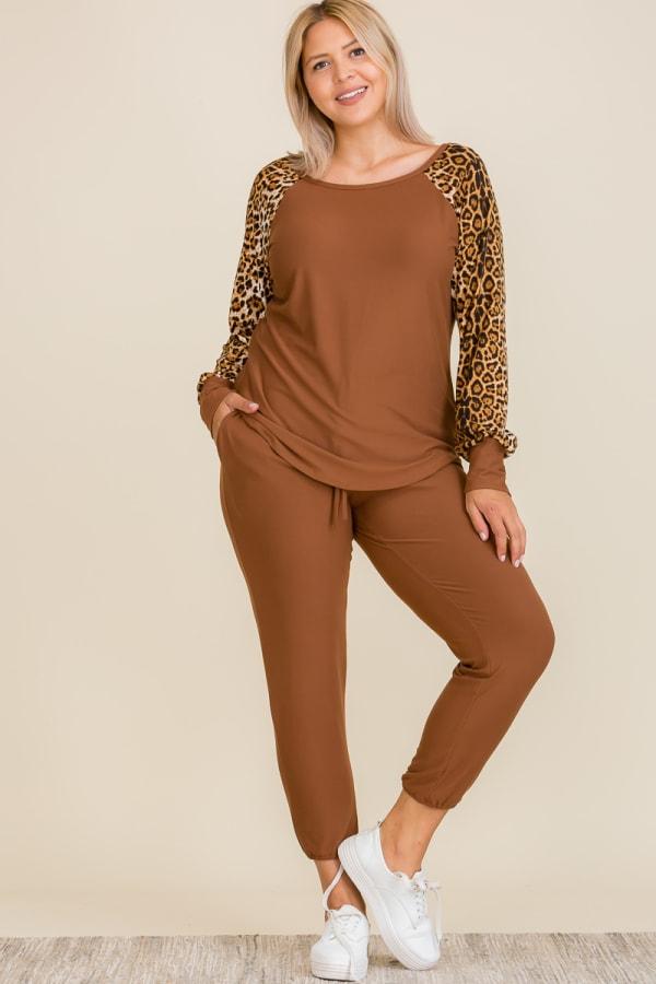 Leopard Print Lounge Set - Plus - Brown - Front
