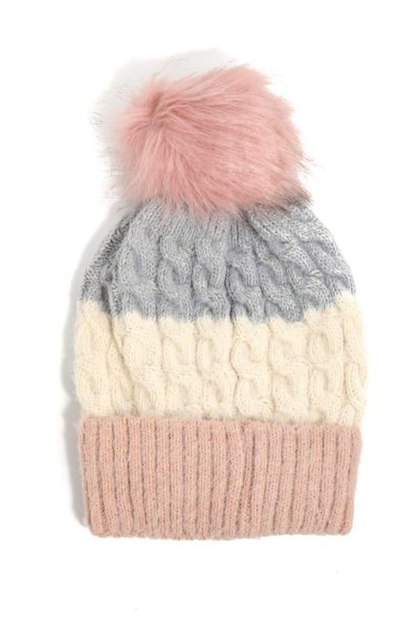 Color Block Intricate Knit Pompom Top Beanie - Mauve - Front