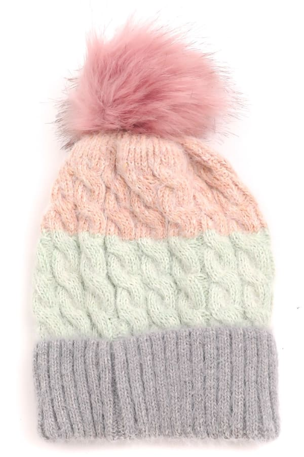 Color Block Knit Pompom Top Beanie - Gray - Front