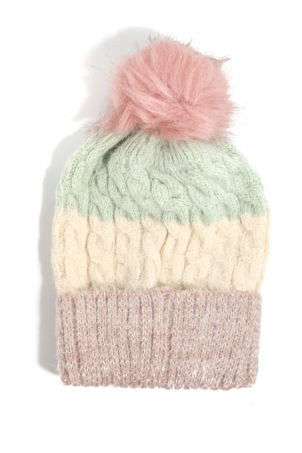 Color Block Intricate Knit Pompom Top Beanie - Mint - Front