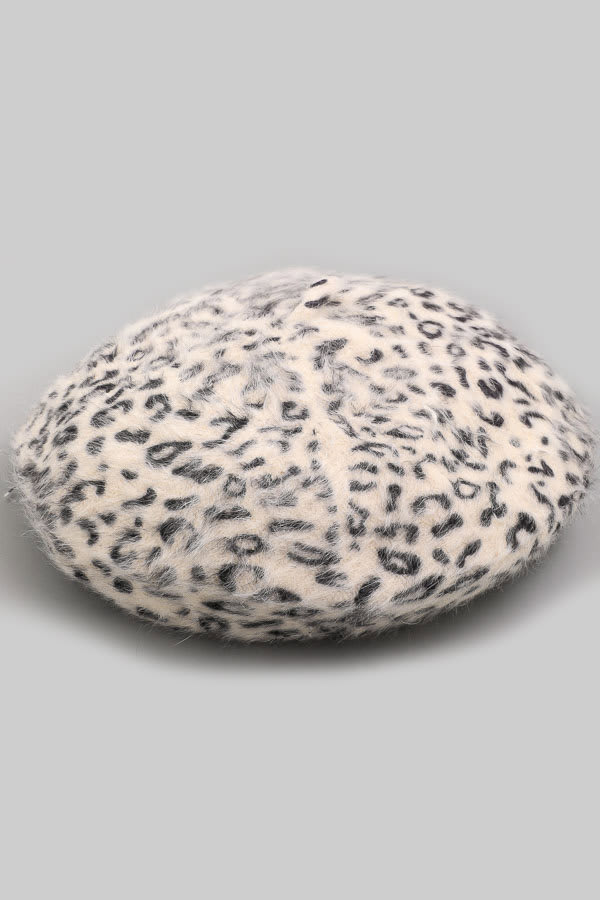 Leopard Print  Soft Beret Beanie - Ivory - Front
