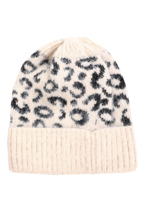 Leopard Print Soft Knitted Beanie - Ivory - Front