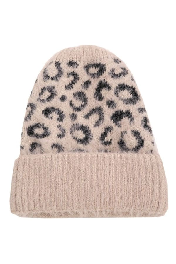 Leopard Print Soft Knitted Beanie - Pink - Front