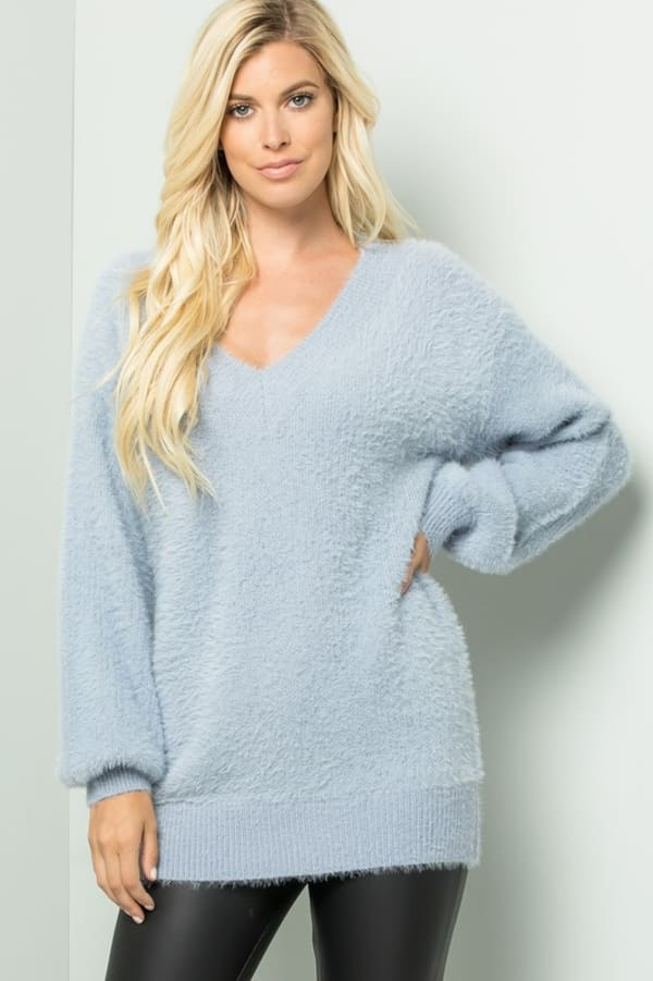 Pre-Order Plush-Soft Fuzzy Sweater - Blue-Grey - Front
