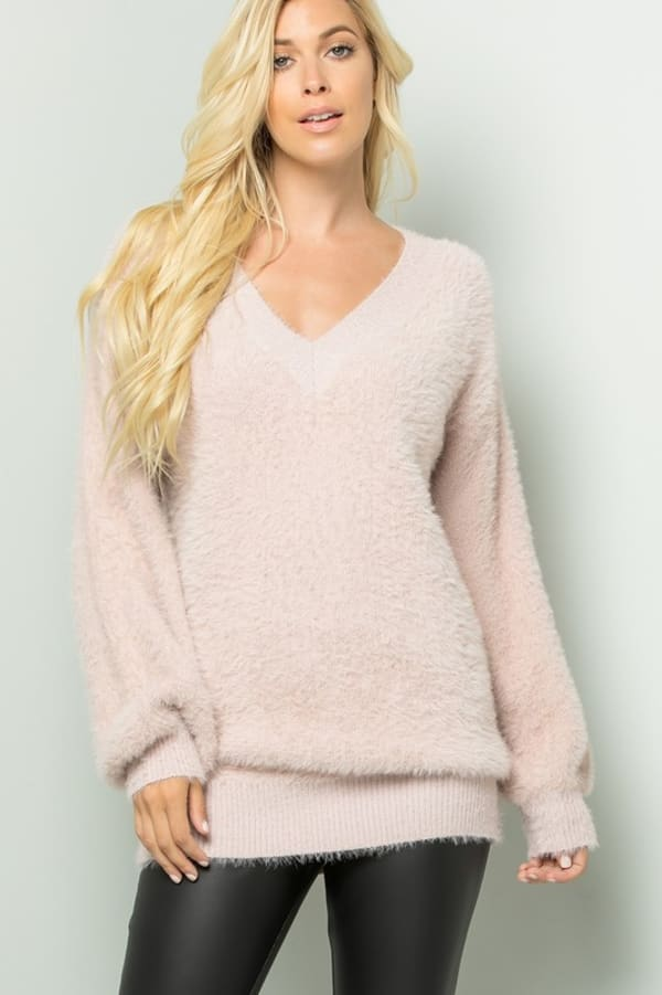 Pre-Order Plush-Soft Fuzzy Sweater - Mauve - Front