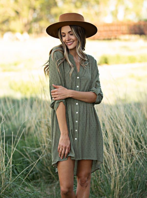 Clip Dot Shirt Dress - Kale - Front
