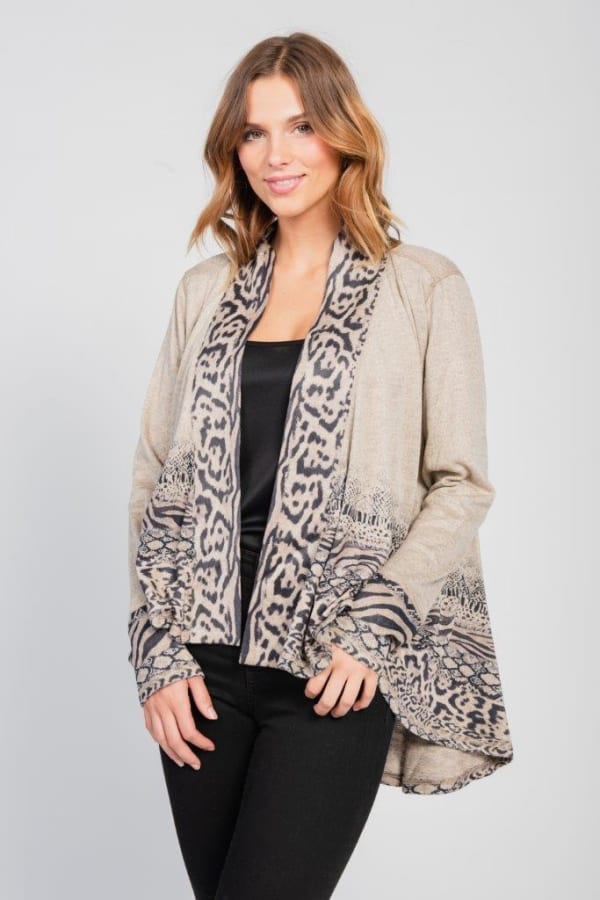 Border Print Open Knit Cardigan - Misses - Brown - Front